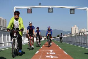 cyclists on bike lane in beijing