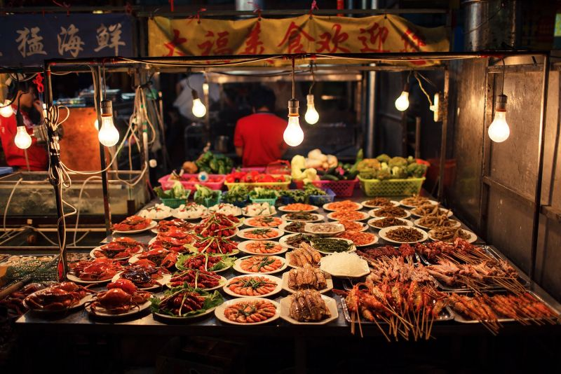 nighttime street food stall in china