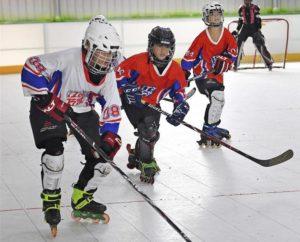 children playing roller ice hockey in jiangxi