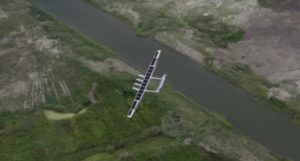 aerial view o solar powered plane during flight