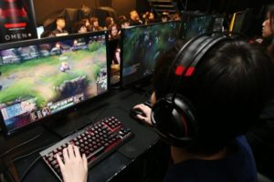e-sports players at an event in china