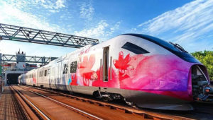side view of colourful high speed train in haikou