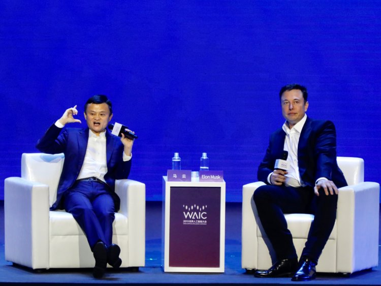 jack ma and elon musk at event on AI
