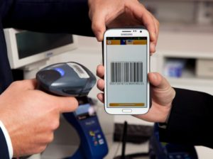 mobile payment QR code being scanned
