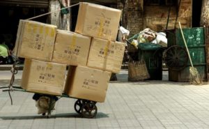 pile of packages on street