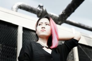 girl with pink dyed hair