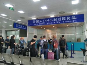 queue for 144 hour free visa at airport in china