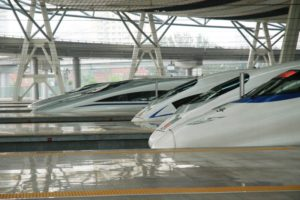 side view of bullet trains at the platform