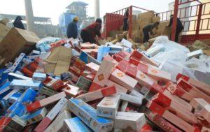 piles of fake cigarettes