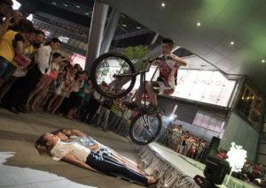 man performing bike trick