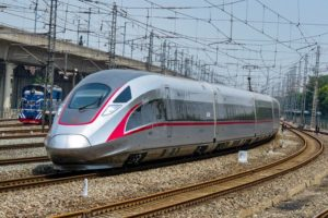 front and side view of bullet train in china