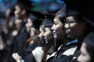chinese students in graduation clothes