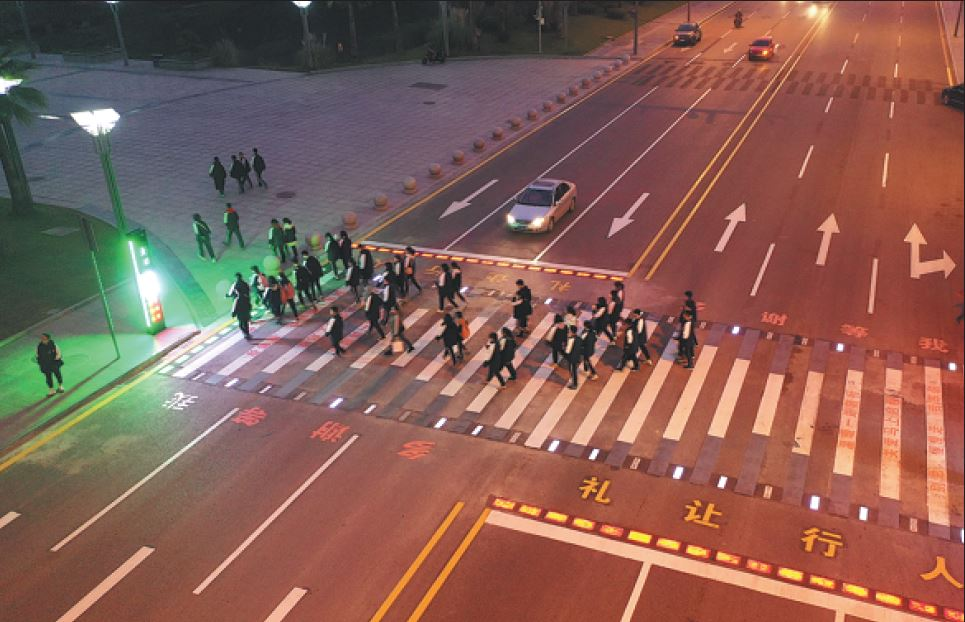 high-tech zebra crossing in hongqing