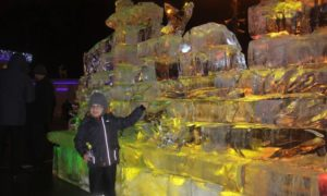 boy standing in front of ice scupture