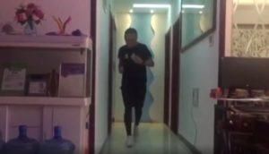 man running in apartment living room