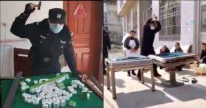 police smashing mahjong tables in china