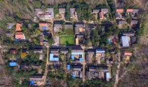 birds eye view of village in china