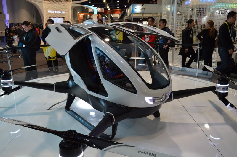 EHang drone taxi on display at exhibition