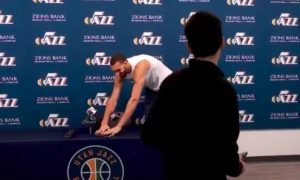 Gobert touching microphones during press conference