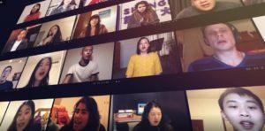 NYU students on web cams singing
