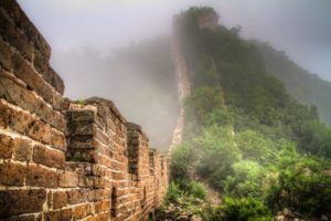 misty morning at jiankou section of great wall in china