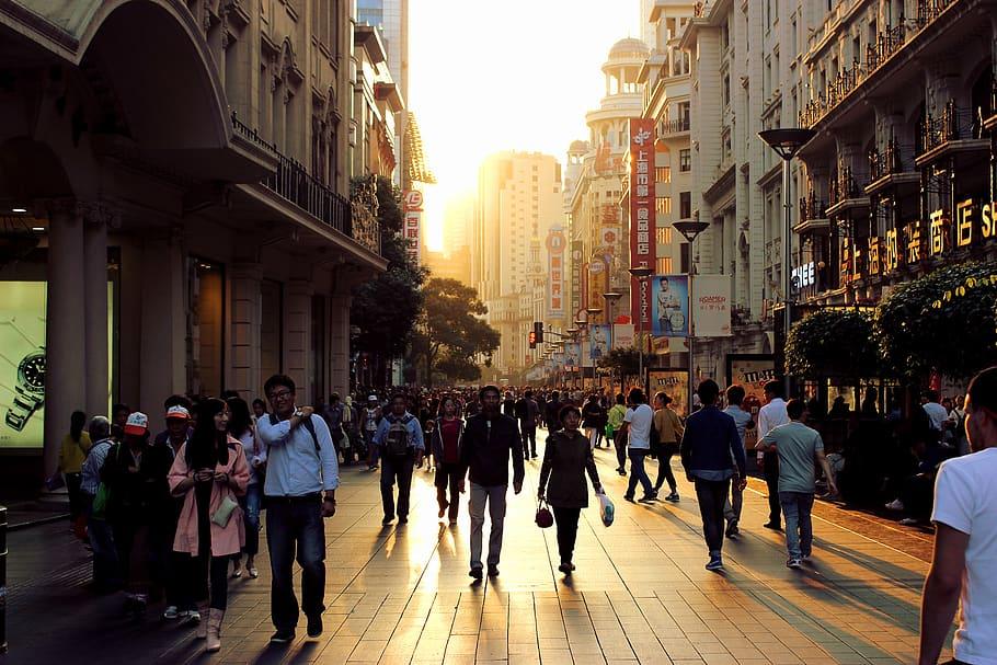 people on nanjing road in shanghai