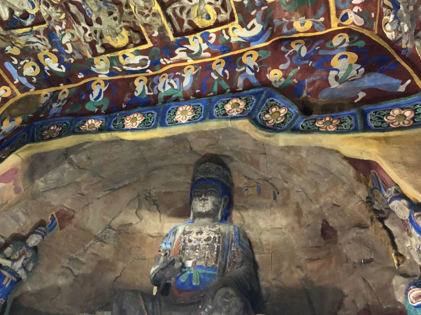 interior view of the full-size reproduced cave from Yungang Grottoes