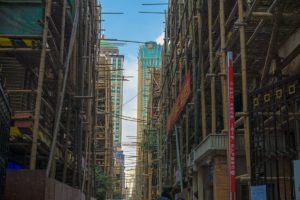 street with bamboo scaffolding in china