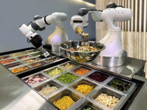 robot arms serving food