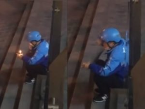two images of delivery man eating birthday cake on steps in china