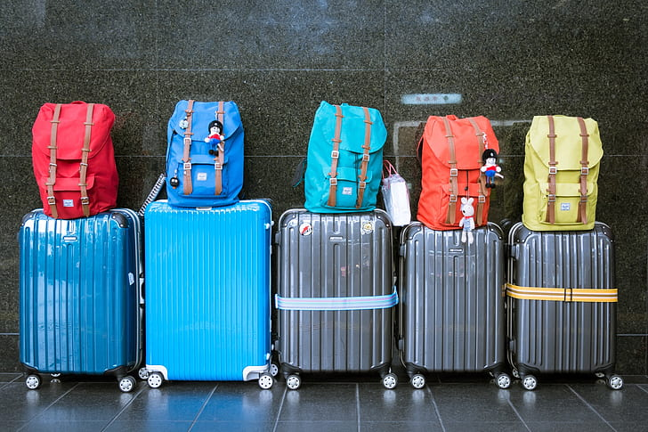 line of passenger luggage