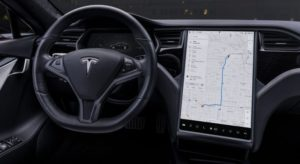 tesla steering wheel and sat-nav