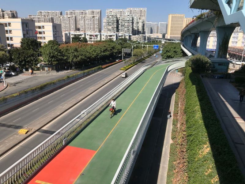 aerial view of woman cycling on bike path in beijing