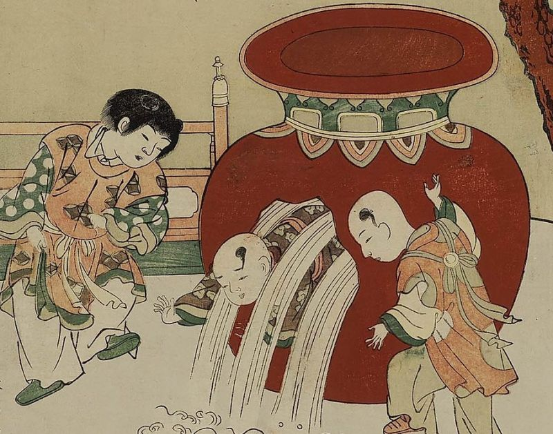 picture showing story of sima guang smashing the water jar to save his friend