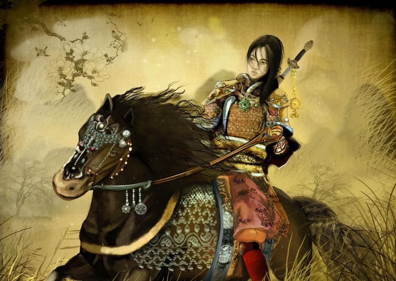 hua mulan riding a horse