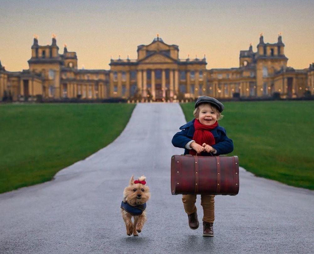 两岁男孩和爸爸妈妈、小狗一起去旅游