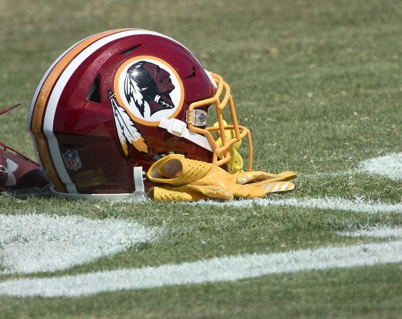 side view of washington redskins helmet