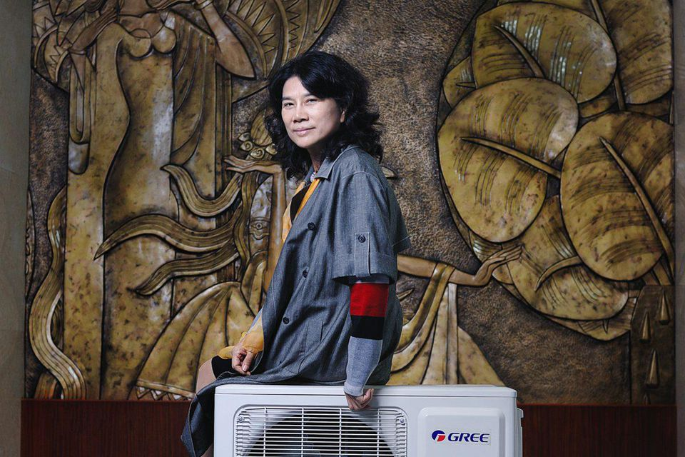 dong mingzhu posing with air conditioner