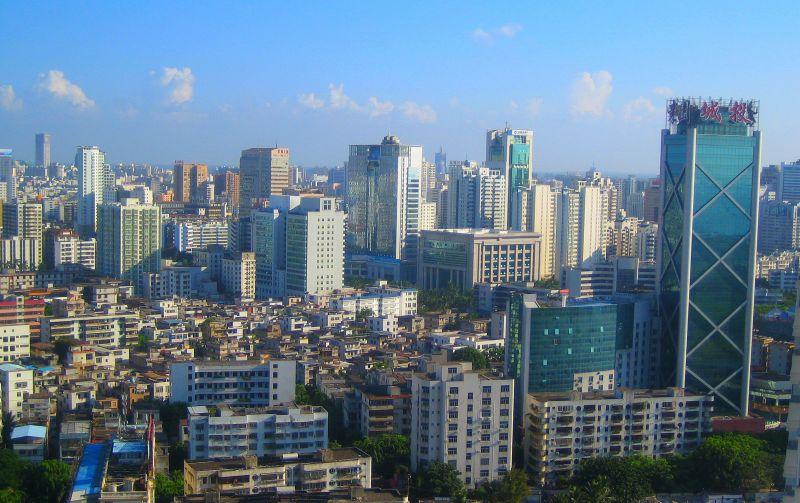 haikou city landscape on sunny day