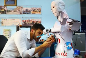 engineer working on robot in egypt