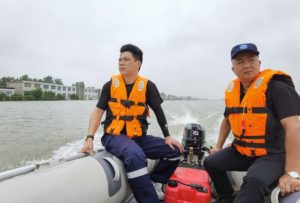 rescue team in boat in china