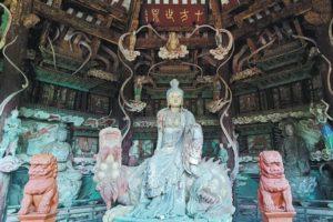 buddha on display at longquan temple in taishan china