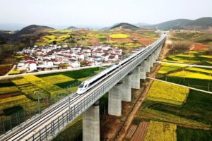 bullet train travelling across countryside in china