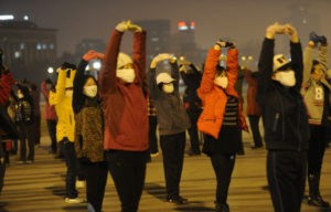 square dancers at night in china