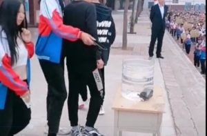 students throwing phones into water bucket as punishment in china