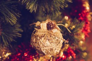 Chinese Christmas Carols : close up of christmas decorations on christmas tree