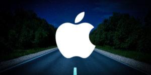 apple logo on the road
