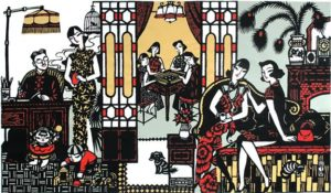 papercutting depicting life in old shanghai