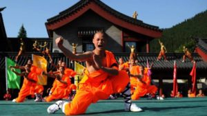 shaolin monks at temple in china