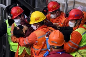 miner being rescued at gold mine in shandong, china